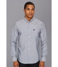 Rvca That'll Do Oxford L S Distant Blue Men's Long Sleeve Button Up Gray
