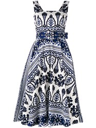 Samantha Sung Flared Printed Dress Women Cotton Spandex Elastane 4 Blue