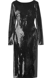 Tom Ford Open Back Sequined Satin Midi Dress Black