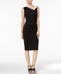 Calvin Klein Contrast Collar Sheath Dress Black White