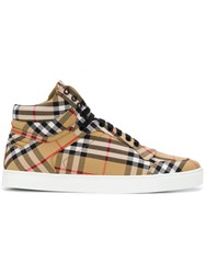 Burberry Classic Check High Tops Nude And Neutrals