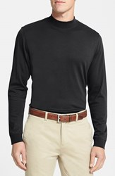 Men's Big And Tall Cutter And Buck 'Belfair' Long Sleeve Mock Neck Pima Cotton T Shirt Black