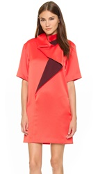 Kenzo Cowl Neck Colorblock Dress Coral Red