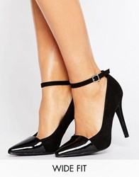 New Look Wide Fit Suedette Point Court Heel Black
