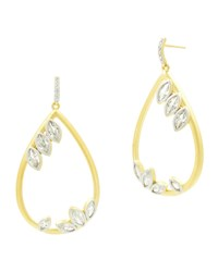 Freida Rothman 14K Fleur Bloom Cubic Zirconia Teardrop Earrings Gray Yellow