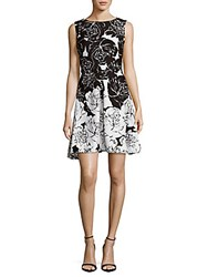 Taylor Floral Print Fit And Flare Dress Black Cream