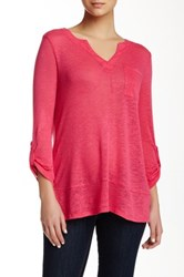 Cable And Gauge Split Neck Linen Blend Tee Pink