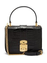 Miu Miu Crocodile Effect Leather Shoulder Bag Black