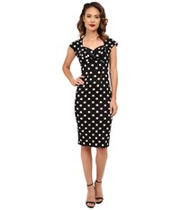 Stop Staring Maybel Fitted Dress Black White Polka Dots Women's Dress Multi