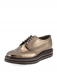 Prada Men's Metallic Leather Brogue Creeper Green