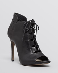 Pour La Victoire Lace Up Open Toe Platform Booties Vione High Heel Black Leather