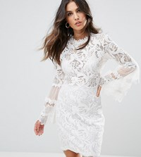 Lioness Allover Lace Dress With Fluted Sleeve Detail White
