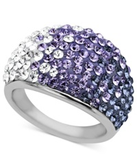 Kaleidoscope Sterling Silver Ring Purple Crystal Dome Ring With Swarovski Elements