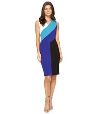 Calvin Klein Color Block Sheath Dress Cd7c101d White Lagoon Atlantis Black Women's Dress Multi