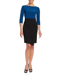 Adrianna Papell Three Quarter Sleeve Colorblocked Asymmetrical Sheath Dress Night Fever