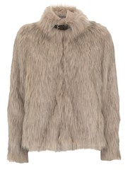 Mint Velvet Oatmeal Chubby Faux Fur Jacket White