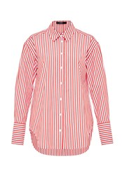 Hallhuber Long Shirt Blouse With Stripes Tomato