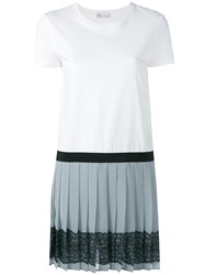 Red Valentino Pleated Skirt Dress White