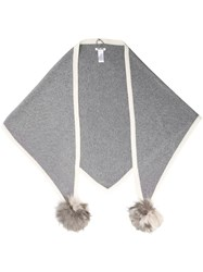 Max And Moi Pompom Detail Scarf Grey