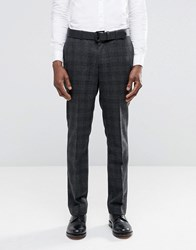 Asos Slim Suit Trousers In Charcoal With Black Check Charcoal Grey