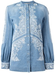 Ermanno Scervino Embroidered Billow Sleeve Top Blue