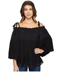 Hale Bob Escape Plan Silk Cotton Voile Cold Shoulder Top Black Women's Clothing