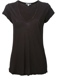 James Perse Deep V Neck T Shirt Blue