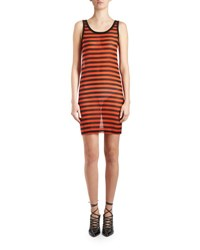 Givenchy Striped Sheer Tank Dress Black Orange Black Orange