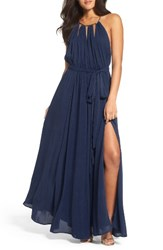 Lulus Women's Gold Metallic Halter Neck Chiffon Gown Navy
