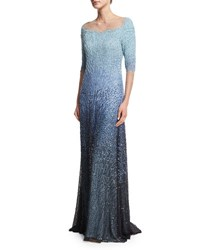 Pamella Roland 3 4 Sleeve Embellished Degrade Gown Blue