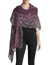 Bindya Lace Trim Evening Stole Wrap Plum