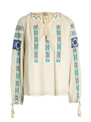 Sea Folk Embroidered Cotton Blouse Cream