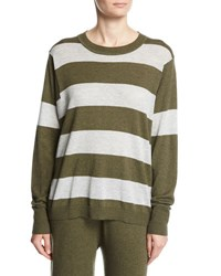 Minnie Rose Long Sleeve Striped Pullover Top Plus Size Armylight Heather