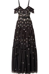 Needle And Thread Lustre Cold Shoulder Embellished Tulle Gown Black Usd
