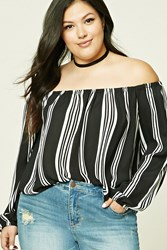 Forever 21 Plus Size Off The Shoulder Top Black Cream