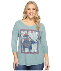 Lucky Brand Plus Size Elephant Ride Tee Silver Blue Women's T Shirt