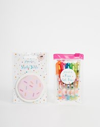 Paperchase Hello Sweetie Doughnut Sticky Notes And Mini Gel Pens Set Multi