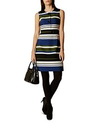 Karen Millen Striped Button Detail Dress Multi