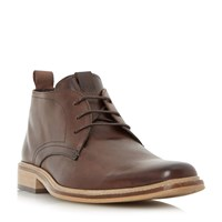 Dune Montenegro Squared Toe Leather Boot Brown