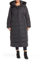 Plus Size Women's Gallery Hooded Long Down And Feather Fill Coat With Faux Fur Trim