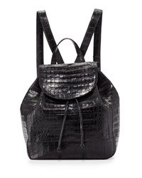 Crocodile Drawstring Backpack Black Matte Nancy Gonzalez