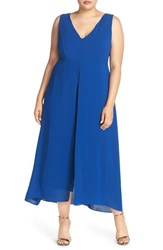 Adrianna Papell Plus Size Women's V Neck Chiffon Overlay Jumpsuit Deep Ocean