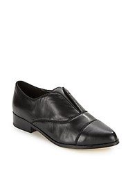 Saks Fifth Avenue Leather Slip On Loafers Black