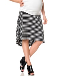 A Pea In The Pod Striped A Line Maternity Skirt Black White