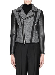 Neil Barrett Faux Leather Sleeve Felt Biker Jacket Grey
