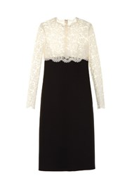 Valentino Contrasting Lace And Crepe Dress Black Cream