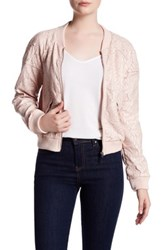 Bnci By Blanc Noir Floral Laser Cut Faux Leather Bomber Jacket Pink