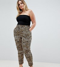 New Look Curve Animal Print Jogger Brown Pattern