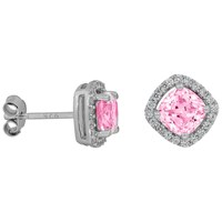 Jools By Jenny Brown Pave Surround Cushion Square Cubic Zirconia Stud Earrings Light Pink