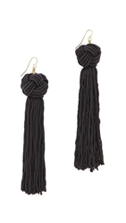 Vanessa Mooney The Astrid Knotted Tassel Earrings Black